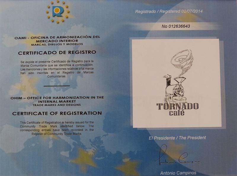 Certificado de registro Tornado Café